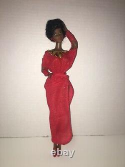 VINTAGE 1979 FIRST Black Barbie Doll Disco Afro Red Dress Mattel 1293