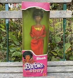 VINTAGE 1979 FIRST Black Barbie Doll Disco Afro Red Dress Mattel 1293 MIB