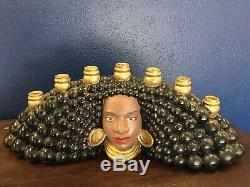 VTG Mid Century Modern African American Ceramic Womens Face 7 Candles Holder L