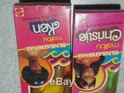 Vintage 1981 Sunsational MALIBU BLACK Afro KEN DOLL #3849 + CHRISTIE #7745 NRFB