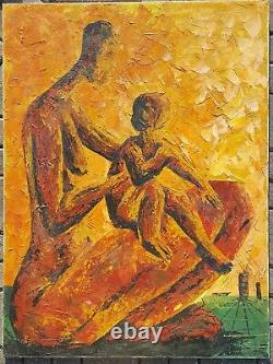 Vintage African American Black Chicago Artist MID Century Modern Mother Painting