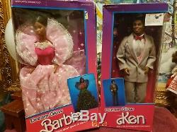 Vintage Barbie and ken Dream Glow Barbie African American Black DollsNRFB 2422
