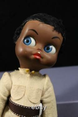 Vintage Black A D Sutton Maura DEDO Big Blue Googly Flirty Eye Italian Doll Rare