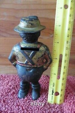 Vintage Cast Iron Still Bank BLACK AMERICANA African American Man Sharecropper