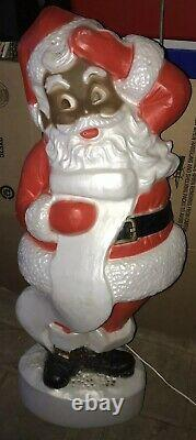 Vintage Christmas UNION Blow Mold African American Santa Black Boots 44TALL
