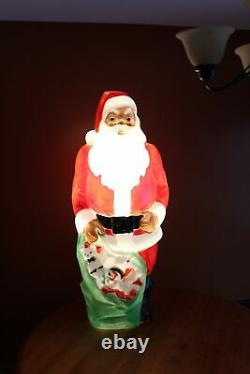 Vintage Empire Blow Mold 46 African American Black Santa Claus with Light Cord