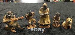 Vintage Hubley Cast Iron African American Black Figurines! Original! Banjo