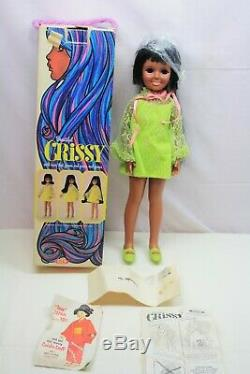 Vintage Ideal Black African American Crissy Grow Hair Doll 1969 1970 Box + Paper