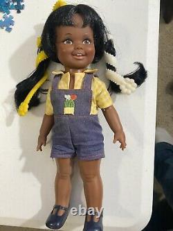 Vintage Ideal Black African American MINT Cinnamon Velvet Grow Hair Doll W Box