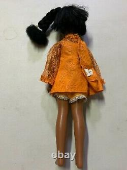 Vintage Ideal Doll Black Hair Crissy Grow Hair Orange Dress African American