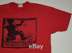 Vintage Keith Haring Free South Africa T-shirt XL Black African American Blm Art