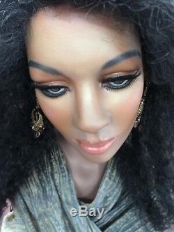 Vintage Mannequin Wig Display Bust African Black Female Realistic Glass Eyes
