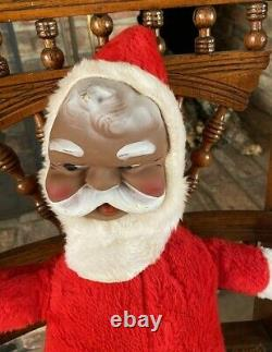 Vintage VERY RARE Black African American Santa Rubber Face 17 Plush 1950-60's