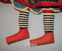 Vtg Ca Late 1920s Folk Art Beloved Belindy Black Cloth Rag Doll Antique 23 Tall
