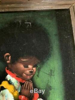 Vtg Velvet Framed Painting African American Boy and Girl in Pyjamas Praying
